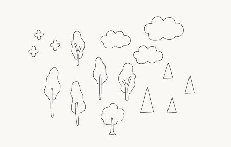 木と雲と花