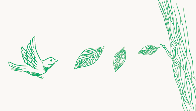 手書き風の鳥と葉っぱ素材です。