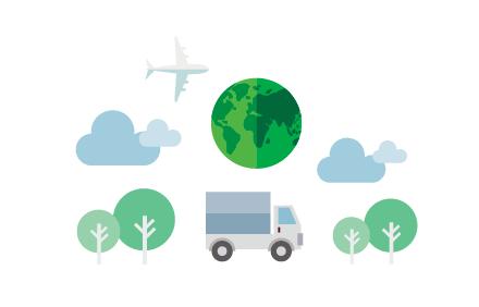 トラック 木 地球 飛行機 雲